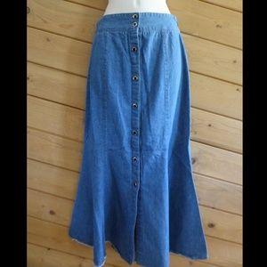 Dresses & Skirts - Denim Jean Long Skirt Aline Button Front Waistband